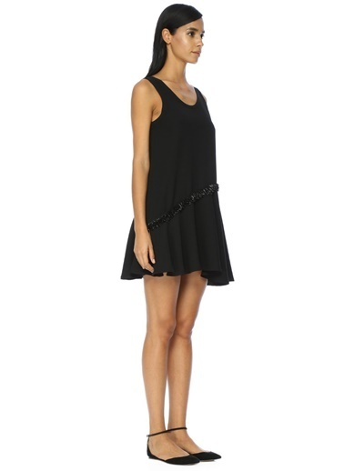 Askılı Volanlı Mini Elbise-Academia